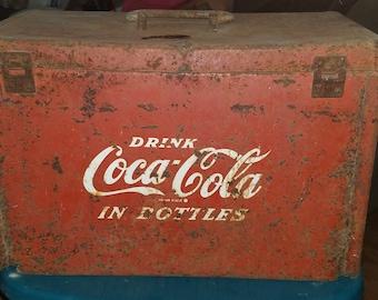 Vintage Coca Cola bottle ice chest