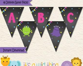 Girl Monster Birthday Banner • First Birthday • Halloween Birthday •Monster Birthday Bash Party • Alphabet Banner • Monster Party • 039b