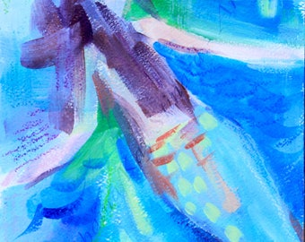 SALE!  Original Mermaid Painting - abstract, mixed media on paper, 6 x 9 in., ready to ship!