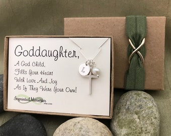 Goddaughter gift Pearl Cross Necklace - Goddaughter Personalized Sterling Silver Necklace First Communion Gift Godchild Confirmation Gift