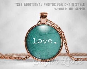 Love Necklace - Valentine Pendant - Valentine's Day Necklace - Valentine's Day Jewelry - Love Jewelry - Glass Dome Pendant - Teal