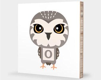 O is for Owl : ABC Block Bamboo Wall Art Series // Alphabet Kids Wall Art Nursery Room Decor Animal Art Baby