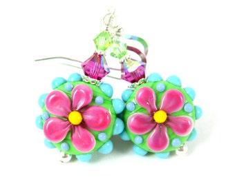 Hot Pink Flower Earrings, Bright Colorful Earrings Pink Green Blue Glass Dangle Earrings Hippie Earrings Whimsical Jewelry Lampwork Earrings