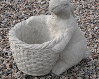 Rabbit Statue with Woven Planter, Garden Rabbit, Rabbit Planter, Rabbit Statue, Outdoor Planter, Patio Planter, Garden, Rabbit, Planter