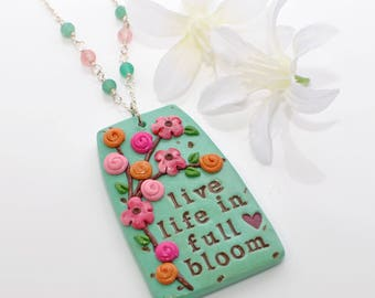 Pink Green Live Life In Full Bloom- Everyday Jewelry-Beaded Necklace- Quote Necklace- Inspiration Necklace- Inspirational Gift- Gift For Her