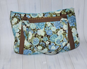 Blue Floral Hobo Bag