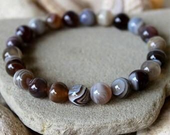 Botswana Agate Bracelet, 10mm Botswana Agate Bracelet, Onyx Bracelet, Botswana Agate Wrist Mala, Sardonyx Bracelet, Botswana Agate Jewelry