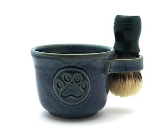 Blue Paw Print Shaving Mug, Pawprint Shave Fathers Day Pottery Dog Lover Ready to Ship Brush Is Not Included