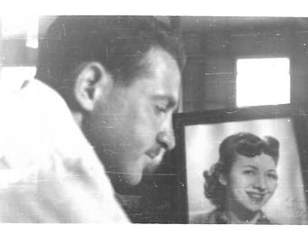 "Vintage Snapshot ""Love Letters"" Serious Man In Profile Pencil Mustache Framed Photo Of Attractive Woman Found Vernacular Photo"