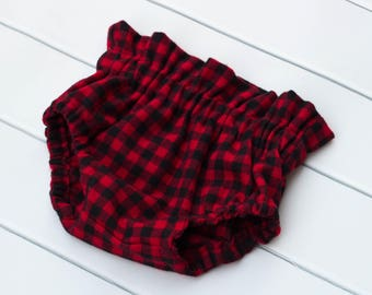 Baby Toddler Girl High Waisted Bloomers. Diaper Nappy Cover. Red and Black Buffalo Bloomer Shorties.