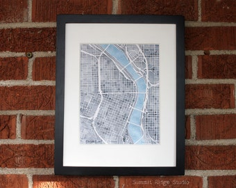 10x8 Print Portland Oregon watercolor map decor white gray and turquoise