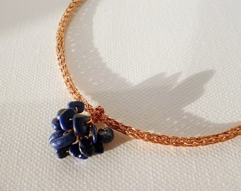 Viking knit necklace - lapis lazuli necklace - handmade copper jewelry - Grapes pendant