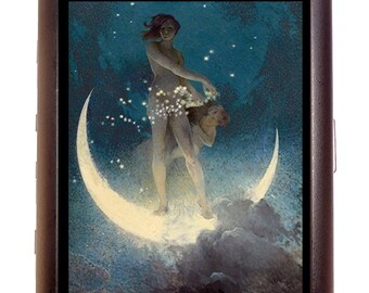 Fairy Moon Cigarette Case Fantasy Artwork Celestial Art Nouveau Deco ID Business Card Credit Card Holder Wallet