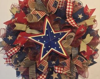 SALE 4th of July wreath, Fourth of July wreath, patriotic wreath, 4th of July wreaths, patriotic wreaths, 4th of July, wreath, patriotic dec
