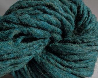 "Yarn Handspun Alpaca & Wool Thick and Thin Bulky  56 Yards  Dark Teal Green Hand Dyed  "" Heathered Teal "" Doll Hair Knitting Supply"