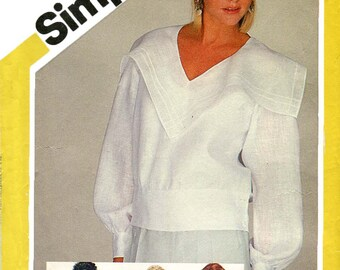 Simplicity 6217 Vintage 1980s loose-fitting blouses with hip bands and collar variations uncut sewing pattern