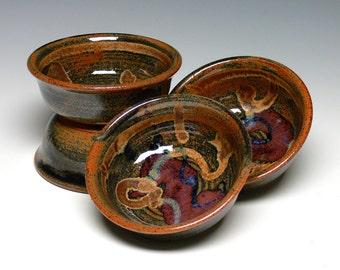 Yogurt Bowls - Set of 4, Hand Thrown Ice Cream Bowls, Pottery Prep Bowls, Stoneware Dip Bowls
