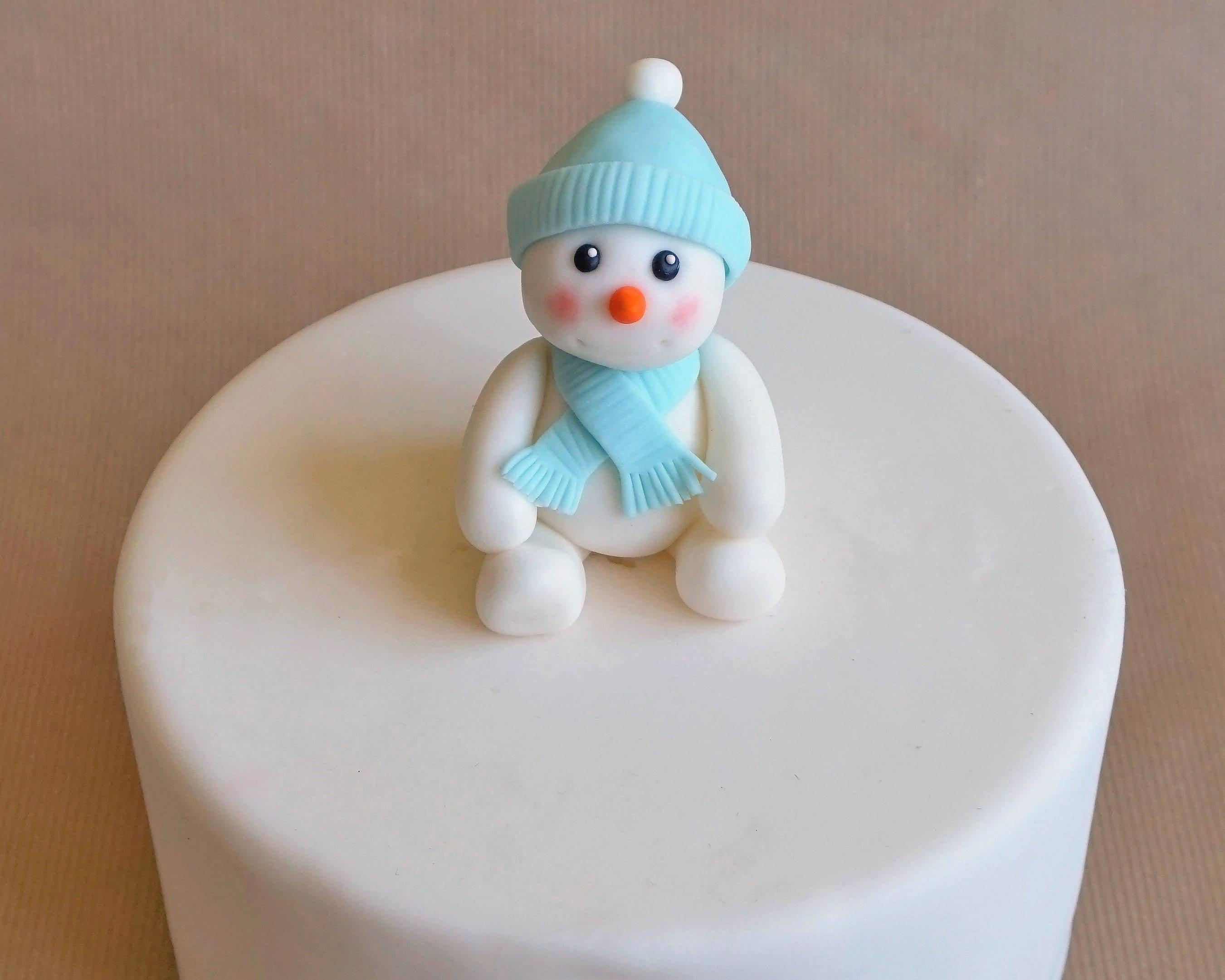 Fondant snowman cake topper, snowman topper, winter cake topper ...