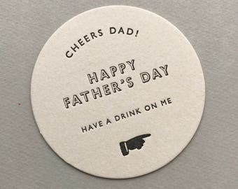Beer Mat Father's Day Card - Letterpress Printed