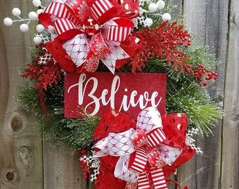 Christmas wreath, Evergreen wreath, Christmas wreaths, Whimsical wreath, Christmas decor, Christmas, glittered Christmas sign, Red wreath