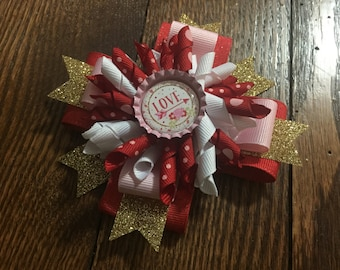 "Valentines ""Arrow"" Korker Stacked Hair Bow"