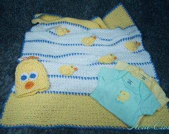 Baby Blanket - Baby's Day Out Set - Ducks