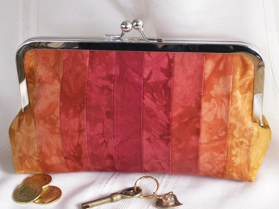 Handmade, hand dyed, patchwork clutch. Gold, orange and red. CLAIRE ABIGALE by Lella Rae on Etsy