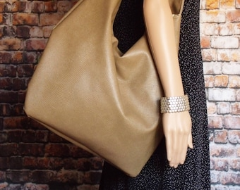 Dark Beige Handbag, Large Slouchy Hobo bag, Snake skin patterned faux leather handbag, roomy travel bag, women's leather look bag
