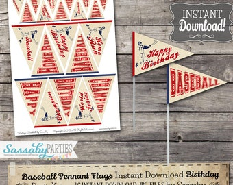 Vintage Baseball BIRTHDAY Mini Pennant Flags / INSTANT DOWNLOAD / Printable Birthday Party Decoration / Cupcake Toppers / Decor / Food Table