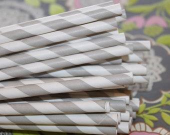 Paper Straws, Grey Paper Straws, Party Straws, Striped Straws, Wedding Straws, Retro Paper Straws, Drinking Straws, Made In USA