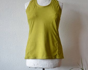 Yoga tank womens earthy acid yellow organic bamboo vest top eco clothing shirt hippy minimalist clothes holistic wellbeing hand dyed boho