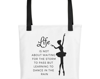 Inspirational Tote Bag Motivational Dance In The Rain Womens Tote Bag Novelty Gift Purse