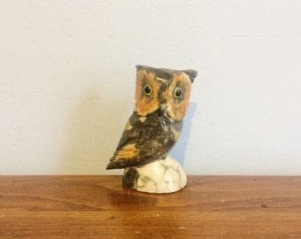 Vintage 70s Marble Owl Figurine / Paperweight / Stone Bird Sculpture / Alabaster Owl Statue