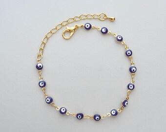 Jewish Kabbalah Gold color Evil Eye Bracelet Evil Eye Charm