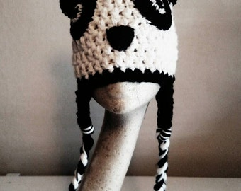 Handmade crochet panda hat