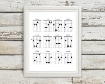 Guitar Chords, Guitar, Guitar Chord Chart, Chord Chart, Music Notes, Modern Art, Modern Art Print, Music Print. Music Poster, Modern Music
