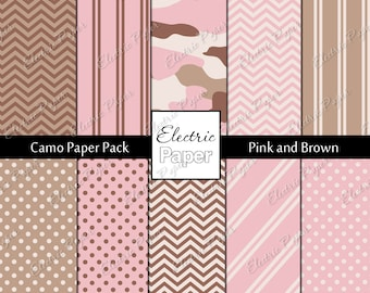 Pink and Brown Camo Paper Pack - Camouflage and Coordinating Prints Printable Paper - Instant download - Pink and Brown