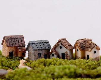4pcs Mini House Cabin Terrarium Figurines Zakka Fairy Garden Decor Miniatures Bonsai Tools Resin Craft Micro Landscape Home Ornaments Gnomes
