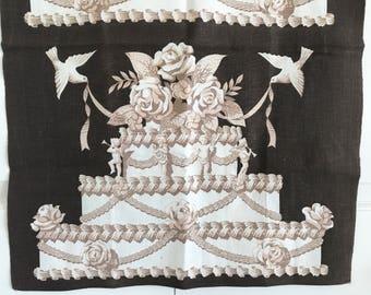 Vintage Dish Towel Wedding Cake Brown Beige Cream Martex Dry Me Dry Screen Print Textile Hanging