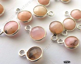 6 pcs Tiny 6mm Pink Opal Stone Sterling Silver Bezel Charm Drops F383S