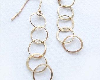 Gold link drop earrings, bridal drop earrings, wedding earrings chain link everyday simple gold earrings