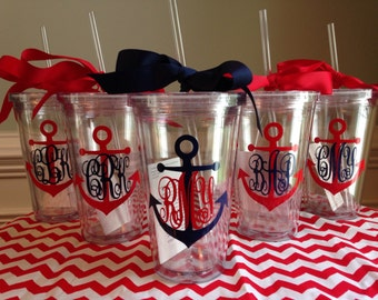 13 Personalized Monogrammed Nautical Anchor Acrylic Double-Wall BPA-free Tumblers