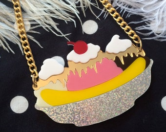 Banana Split Sundae Acrylic Necklace, Laser Cut Acrylic, Plastic Jewelry
