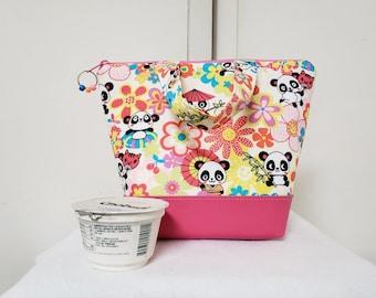 Panda Bear Lunch Bag, Vinyl Bottom, Kids Panda Insulated Lunch Box, Lunch Box with Panda Bears, Nylon Lining with Zipper Pocket, Washable.
