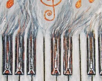 piano keys painting, piano wall art, basswood pyrography, music note art, musician gifts, pianist gift, piano home decor, original, metallic