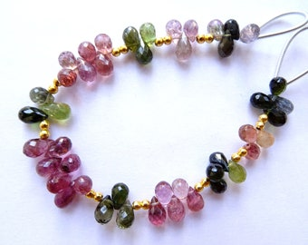 Multi Tourmaline Faceted Drops , Multi Tourmaline Briolettes(JGBO53)