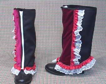 Steampunk Spats Costume Boot  black cotton  redvelvet  white lace  cosplay LARP zipper  leg warmers Geechlark r70