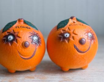 Vintage Anthropomorphic  Florida Orange Salt Pepper Shakers with Google Eyes, Kitsch 1950's Ceramic