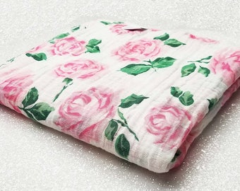 Swaddle blanket, wrap, double gauze, newborn blanket, floral swaddle, newborn photography, baby blanket, baby girl, Vintage Rose, Pink White
