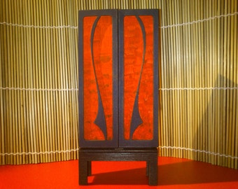 Art Nouveau funiture, red-black bookcase, 1/12 miniature for dollhouses